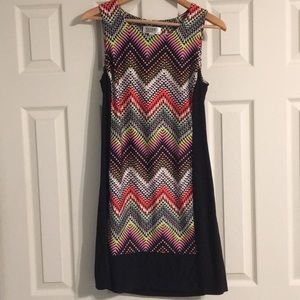 Cute rainbow color geometric design dress!